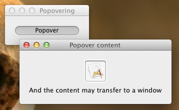 Popover-Window Transition